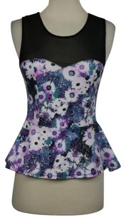 Pins and Needles Womens Floral Casual Peplum Shirt Top Purple