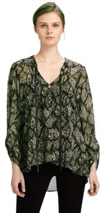 PJK Patterson J. Kincaid Python Snakeskin Sheer V-neck Top Green