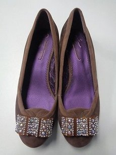 Poetic License Rounded Toe Low Block Heeled Leather B3365 Brown And Silver Flats