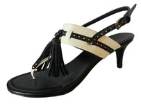 Polo Ralph Lauren Leather Hees Slingback Black Beige Sandals