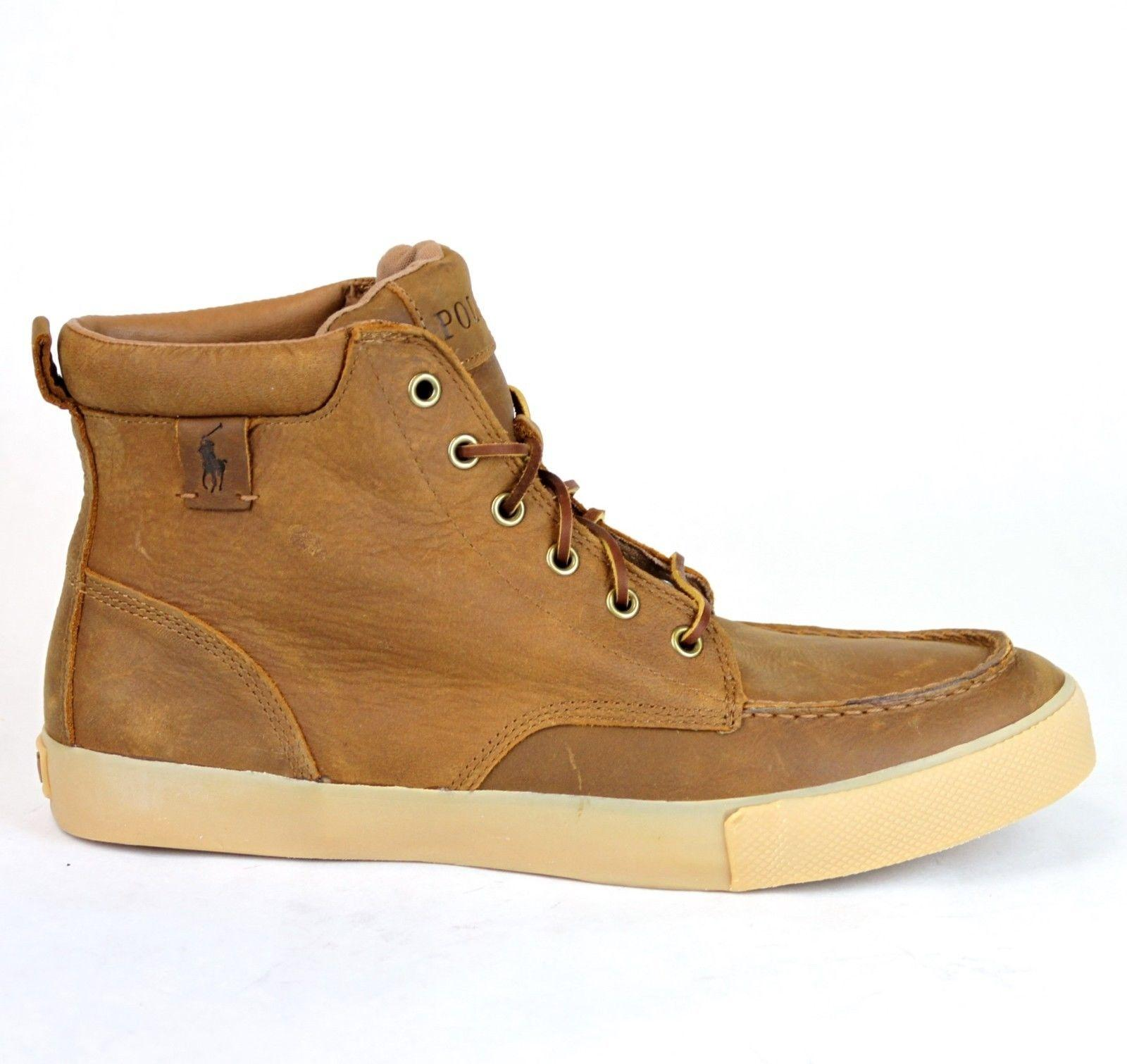 Polo Ralph Lauren Tan/Brown Tan/Brown Tedd Leather High Top Sneaker Us 7..5  Shoes - Tradesy