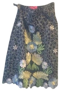 Pookie and Sebastian Floral Embroidered Anthropologie Girly Feminine Skirt Multicolor