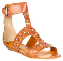 Pour La Victoire Leather Jeweled Gladiator T-strap Wedge Whisky Sandals