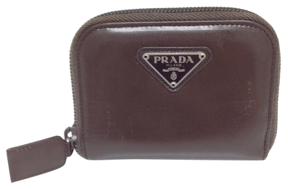 5a0bb6ee3770 ... authentic prada prada 4092 zip around zippy brown smooth leather coin  key card business card credit