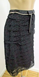 Prada Tiered Lace W Beige Ruffle At Bow At Waist Skirt Black