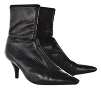Prada Womens Ankle Pointed Toe Leather Heels Black Boots