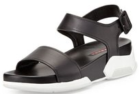 Prada Leather Double Strap Black Sandals