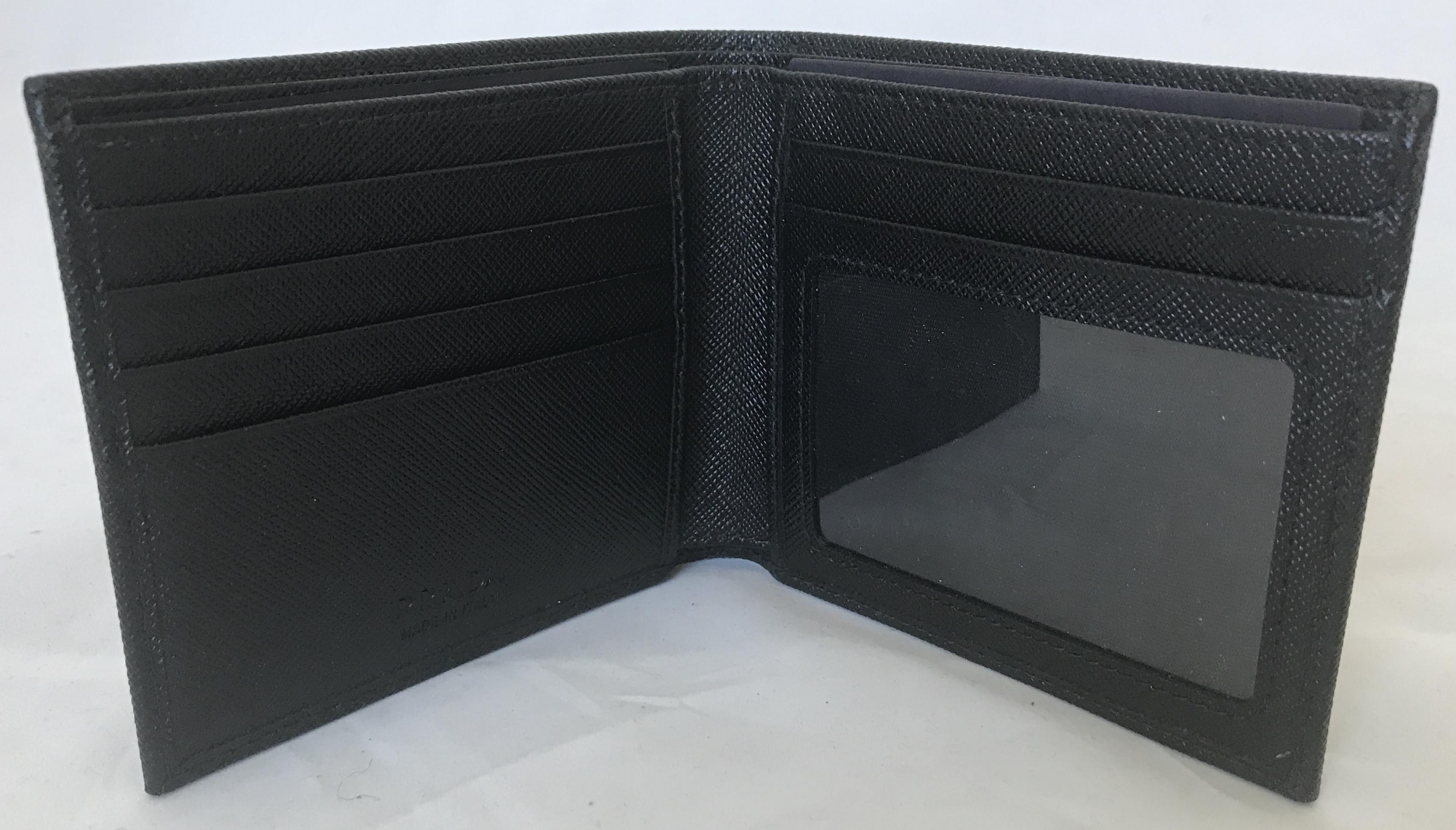 348242c1b423 ... where to buy prada new in box men black leather bi fold wallet 2mo233.  123456