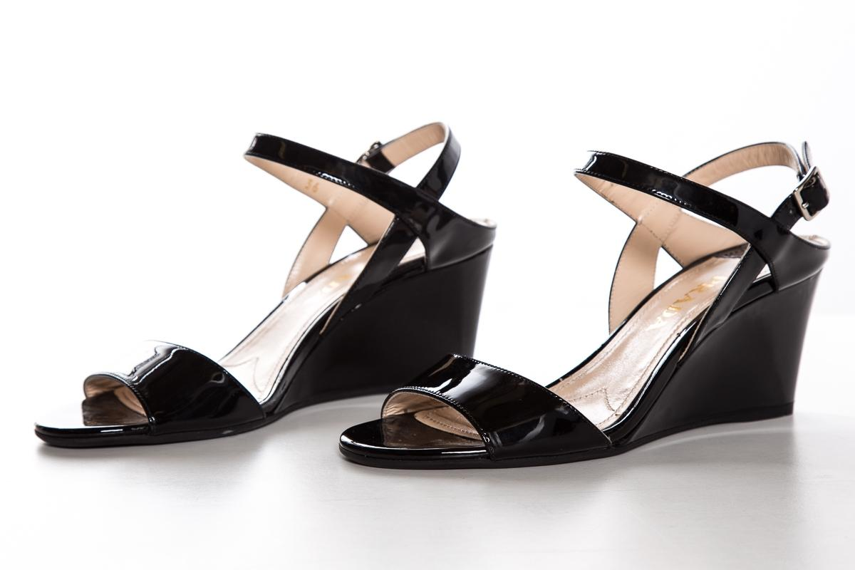 Prada Patent Leather Peep-Toe Wedges