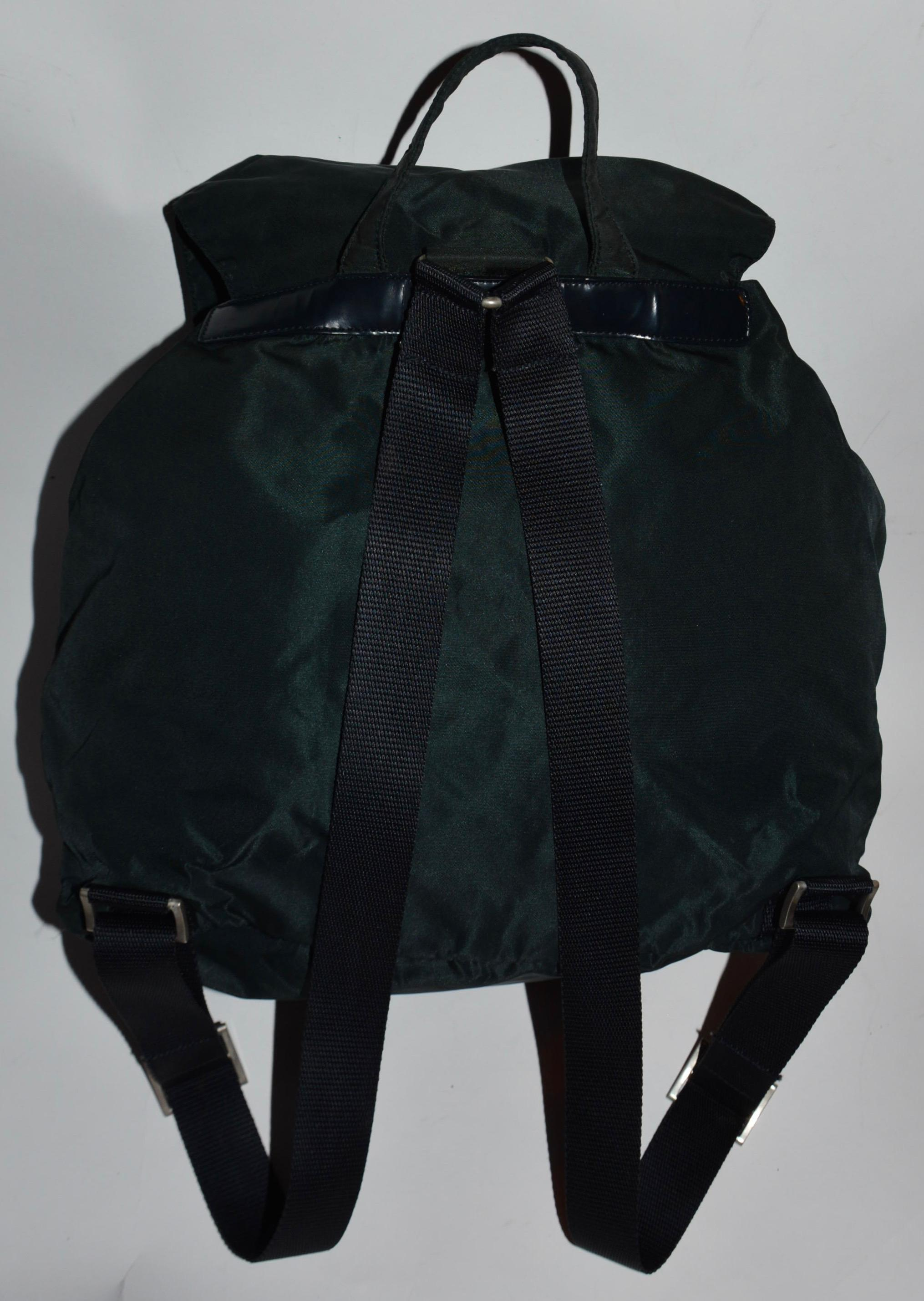 bfd9301f5b00 ... netherlands prada bluish green very dark green with light navy blue hue  tessuto fabric leather backpack