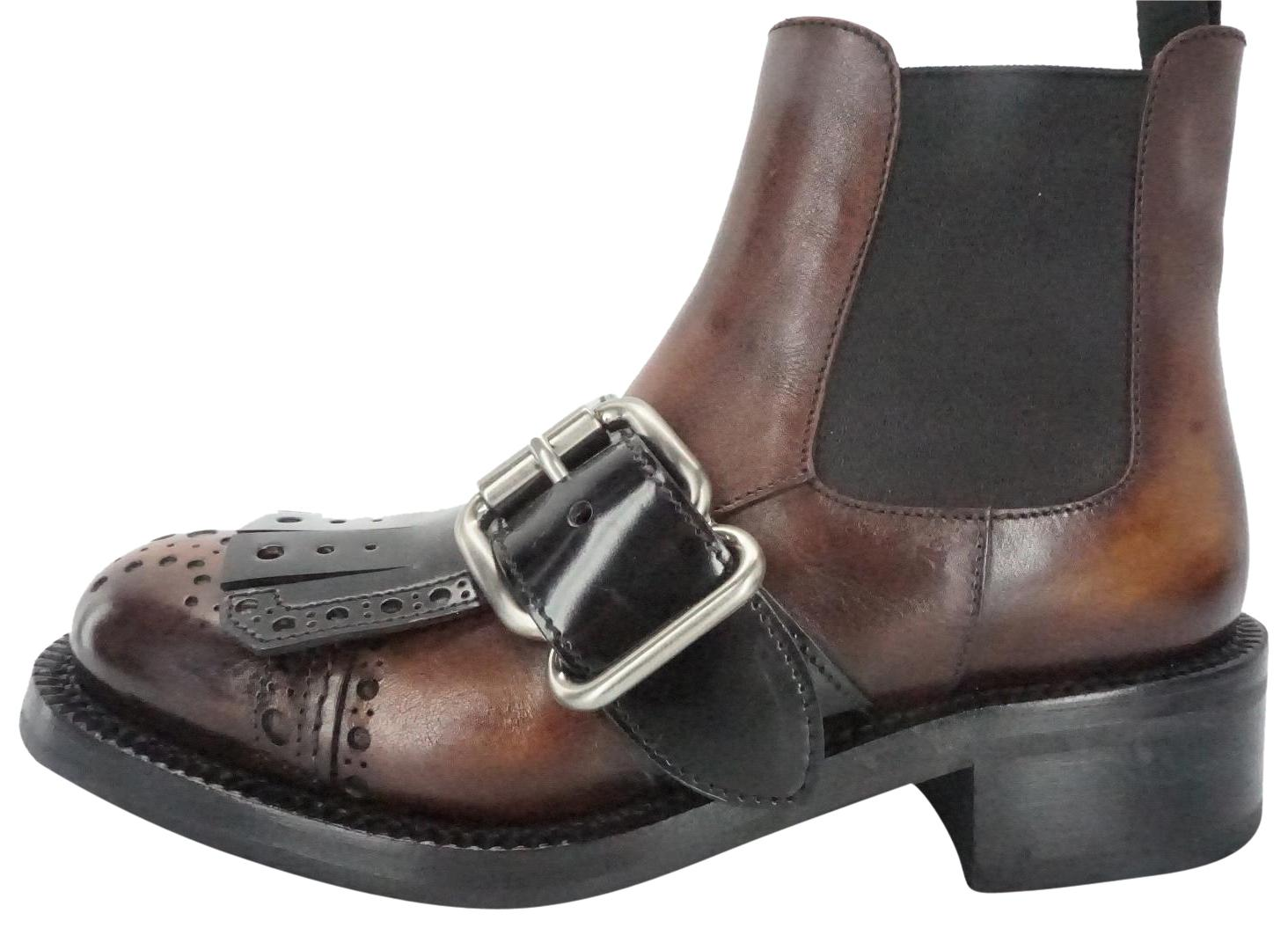 Prada Brown Leather Buckle Kiltie Chelsea Ankle Boots/Booties Size EU 35 (Approx. US 5) Regular (M, B)