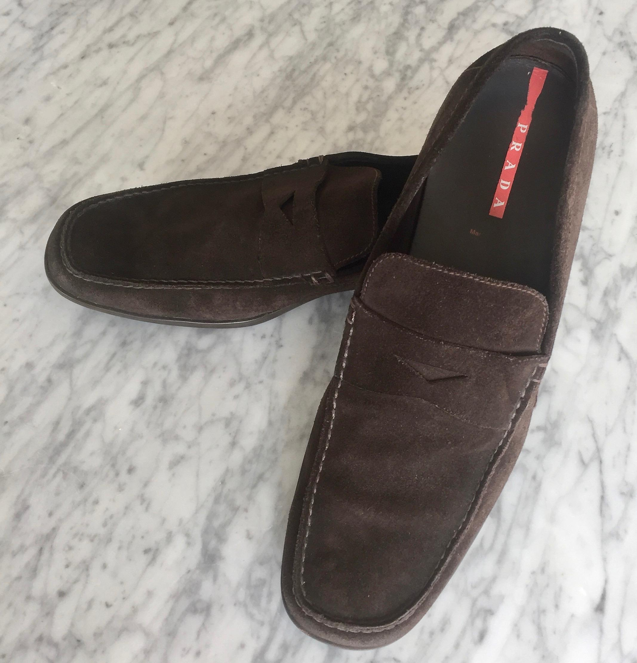 a9694cbc337f ... switzerland prada brown suede loafers flats size us 12 regular m b  tradesy 2ef18 e9776
