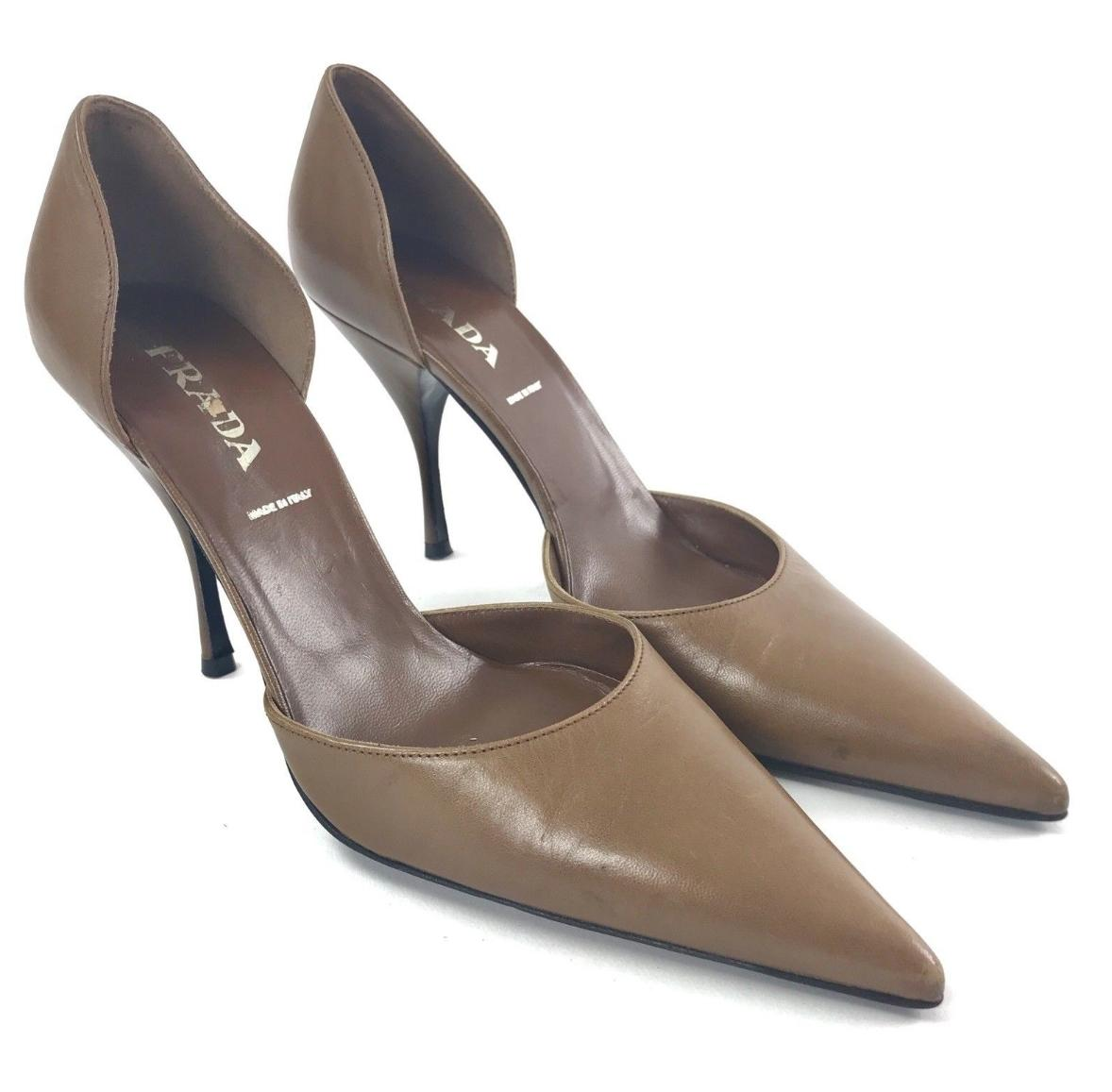 Prada Brown Women's D'orsay Leather Pointed Toe Stiletto Pumps Size US 7 Regular (M, B)