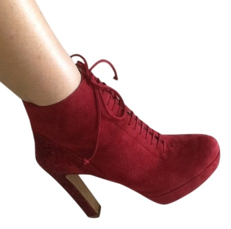 Prada Sparkle Heel Laceup Ankle Burgundy red suede Boots ...