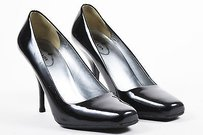 Prada Metallic Patent Black Pumps
