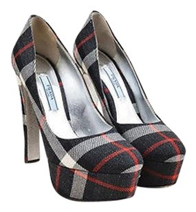 Prada Red White Tweed Black Pumps