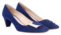 Prada Suede Square Toe Silver Buckle Low Heel Sandal Blue Pumps