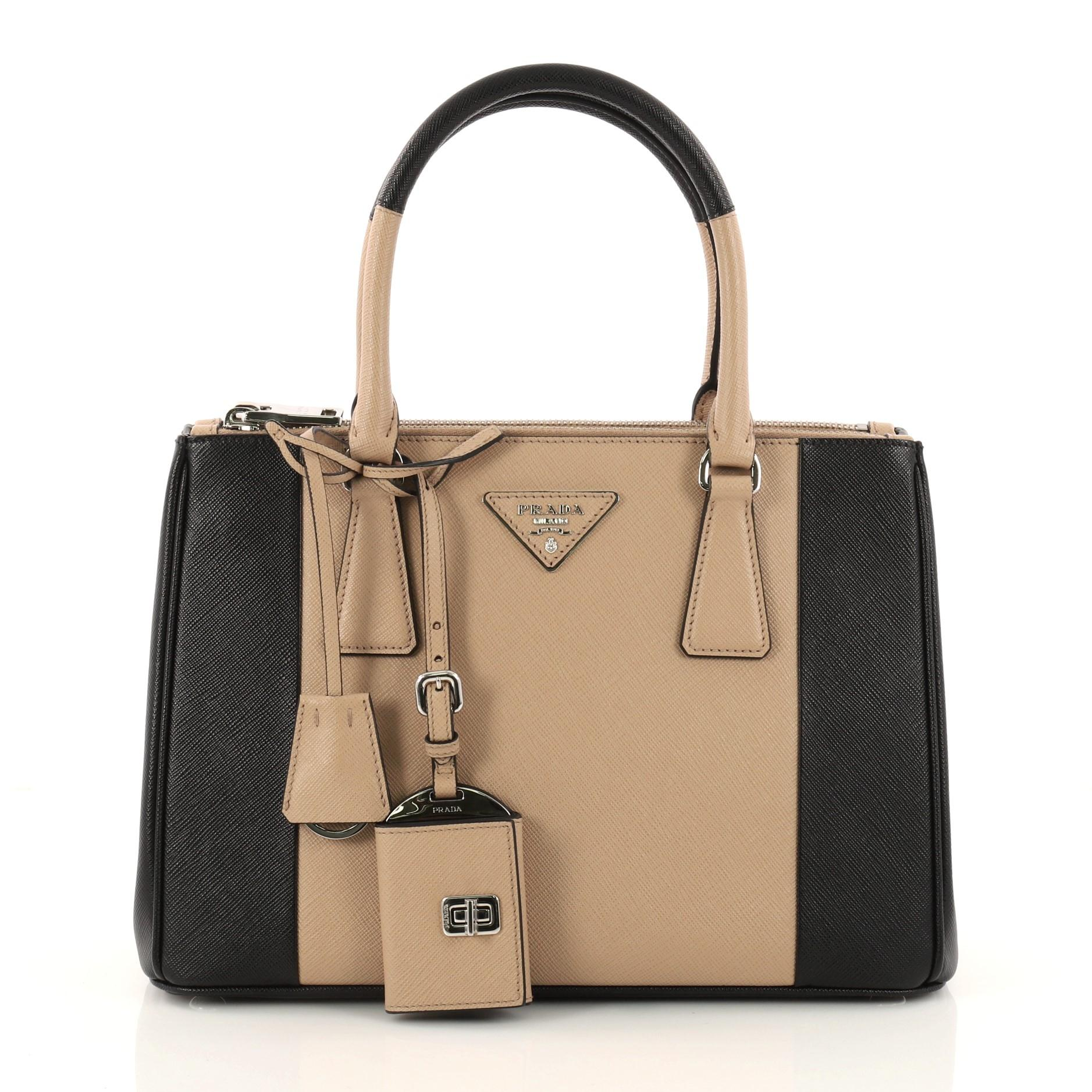 a493b5dc218d ... netherlands store prada bicolor leather tote in brown. prada double  bicolor zip lux saffiano 66c92