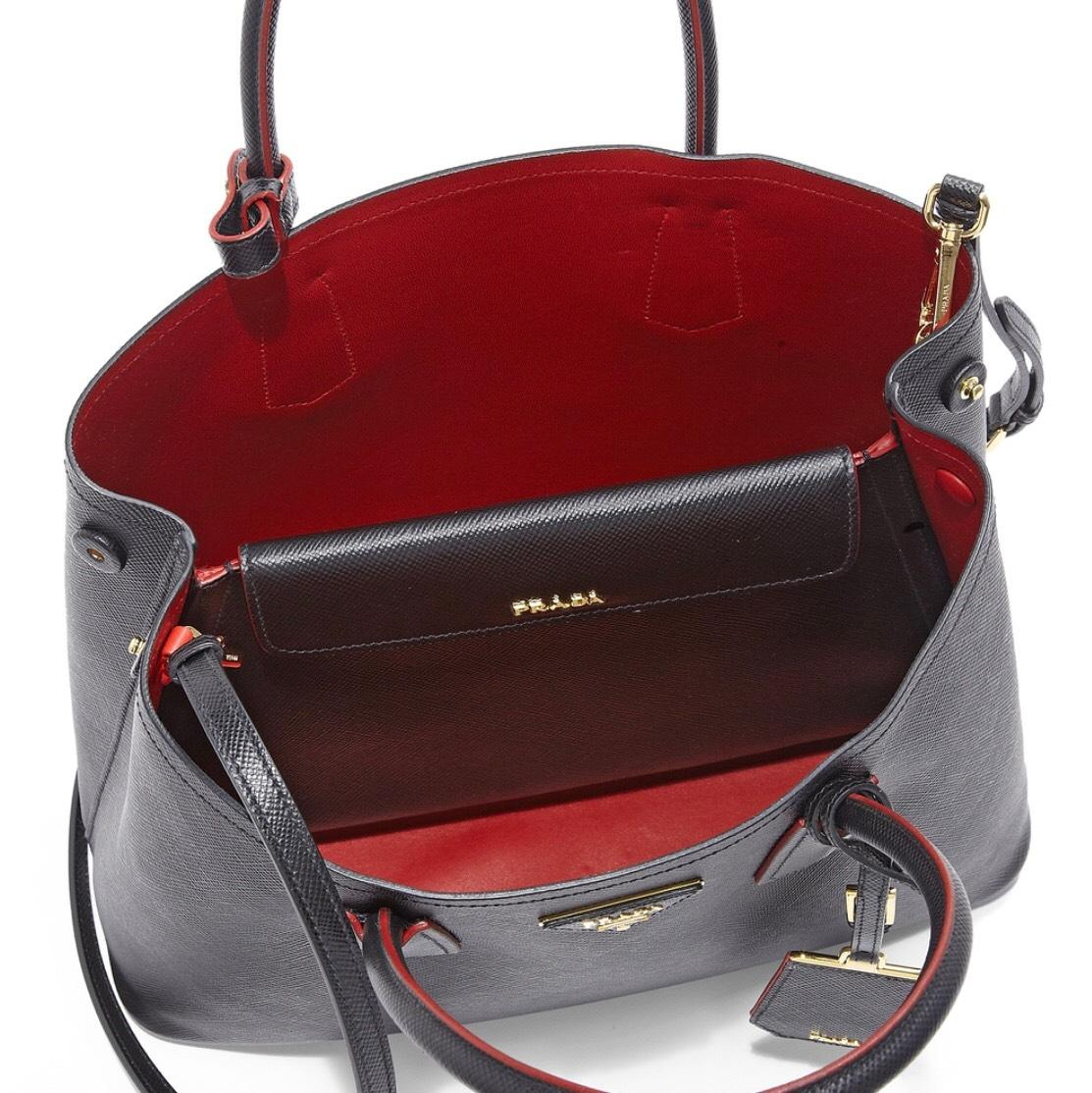 dab6affd2287 ... where to buy prada double cuir medium tote black red saffiano leather  satchel ff5bf 9e072