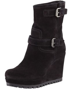 Prada Suede Wedge Ankle Black Boots