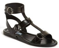 Prada Triple Buckle Gladiator Black Sandals