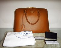 Prada Italian Leather Gold Hardware Luxury Tote in Brown