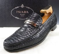 Prada Mens Shoes Python Snakeskin Bit Loafes 2d2241 Black