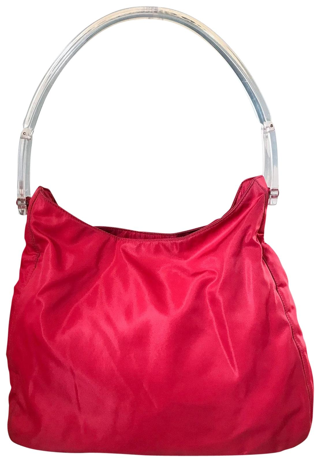 8e52ee23e7564b ... canada prada nylon clear lucite handle hobo shoulder bag cc6f1 a6ee7