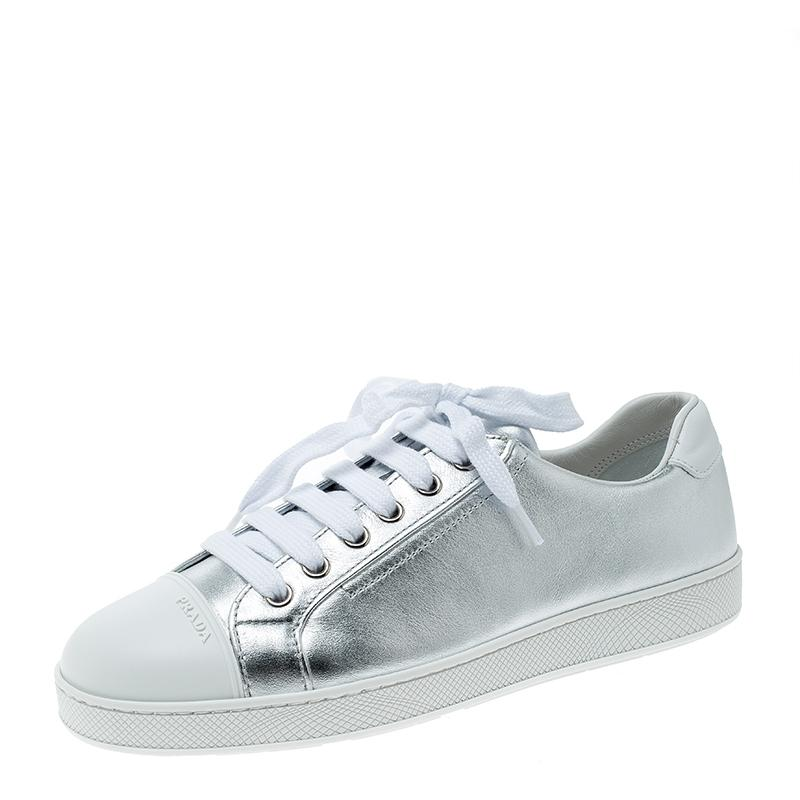 6bb652b18 Prada Metallic Silver Leather Low Top Sneakers Sneakers Size EU 37 (Approx.  US 7