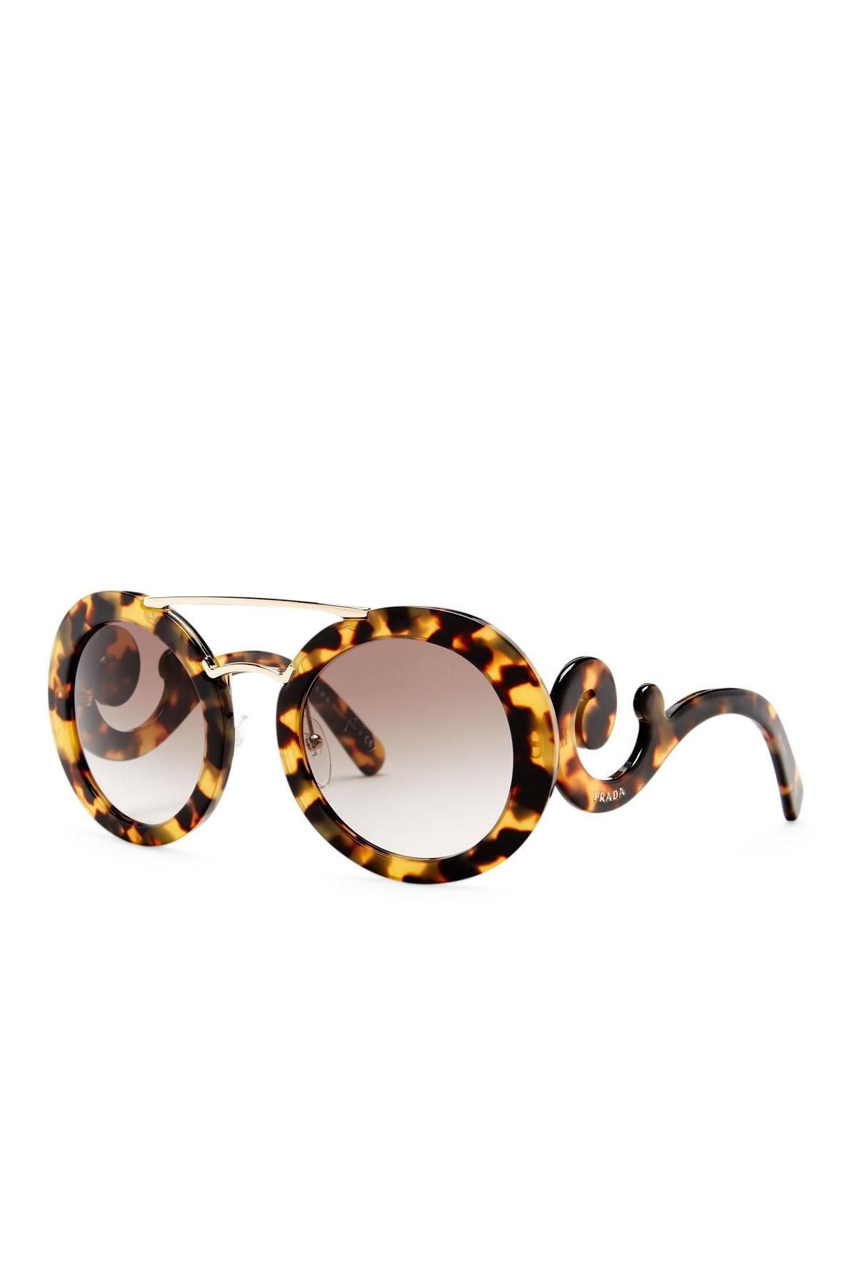 139b416eea ... new arrivals prada new prada absolute ornate baroque havana round  oversized sunglasses 70f81 33631
