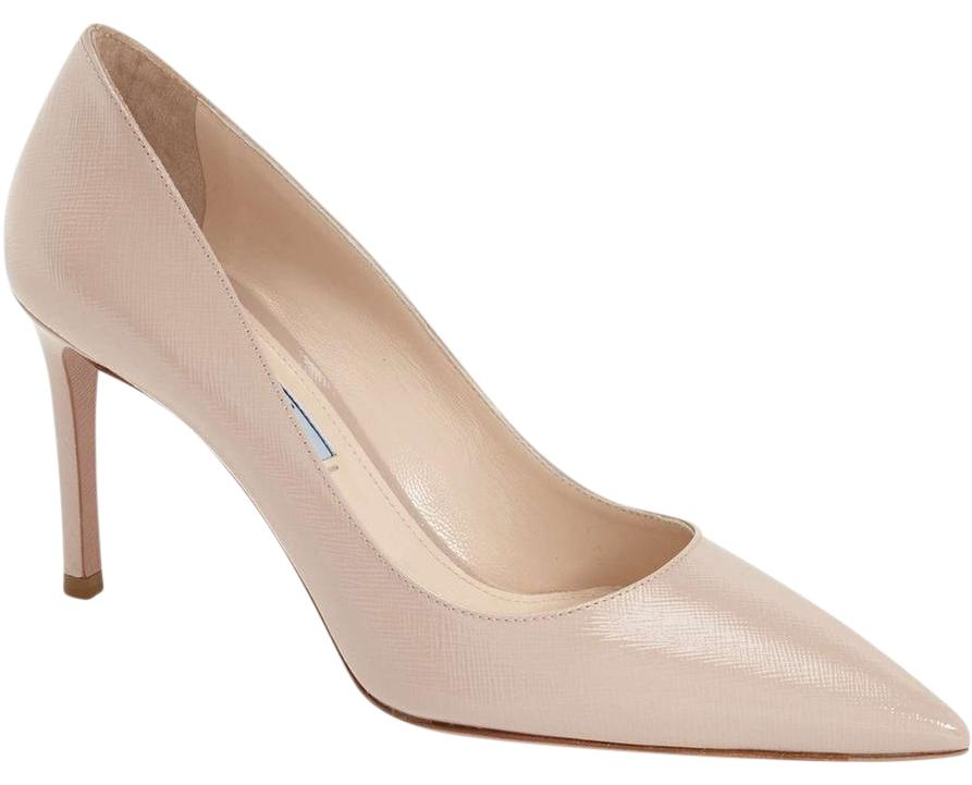Prada Nude Saffiano Patent Leather Pumps Size EU 36 (Approx. US 6) Regular (M, B)