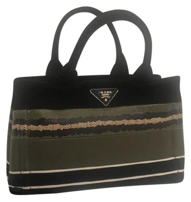96e01270394e ... new zealand prada canvas tote satchel in black with military green  blush pink snake skin and ...