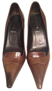 Prada Patent Leather Leather Antiqued Olive Green Pumps