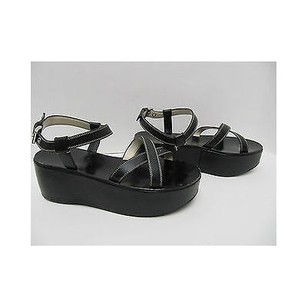 Prada Womens Leather Strappy Platform Blacks Sandals