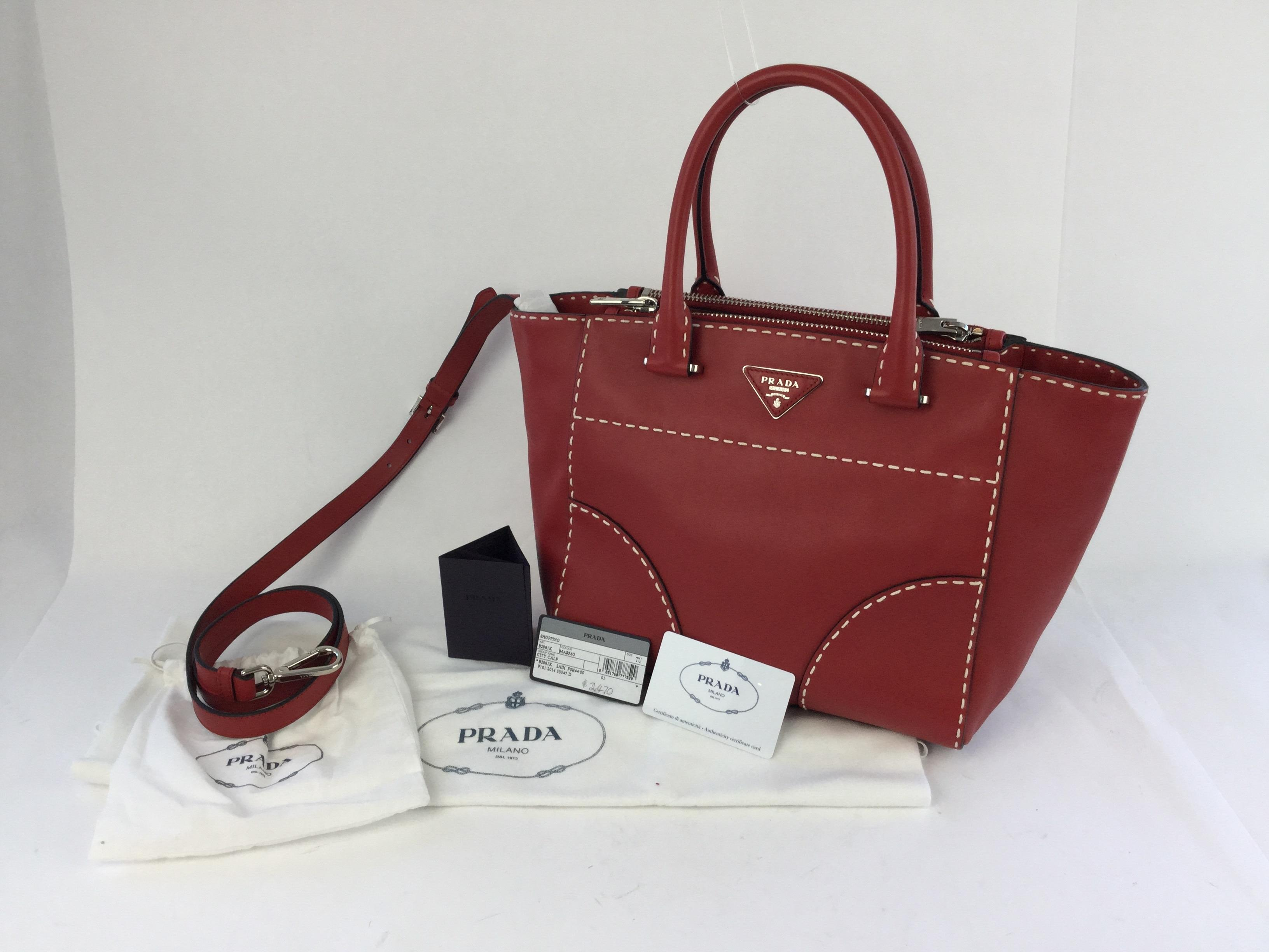 b30285e25404 91806 22d56; closeout prada city calf topstitched tote in red.  123456789101112 0110b f8157