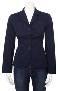 Prada Prada Navy Lightweight Cotton Blend Single Breasted Pocket Blazer Jacket 4642