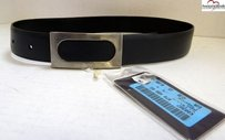 Prada Prada Black Leather Belt Nickel Buckle Italy Eur 70