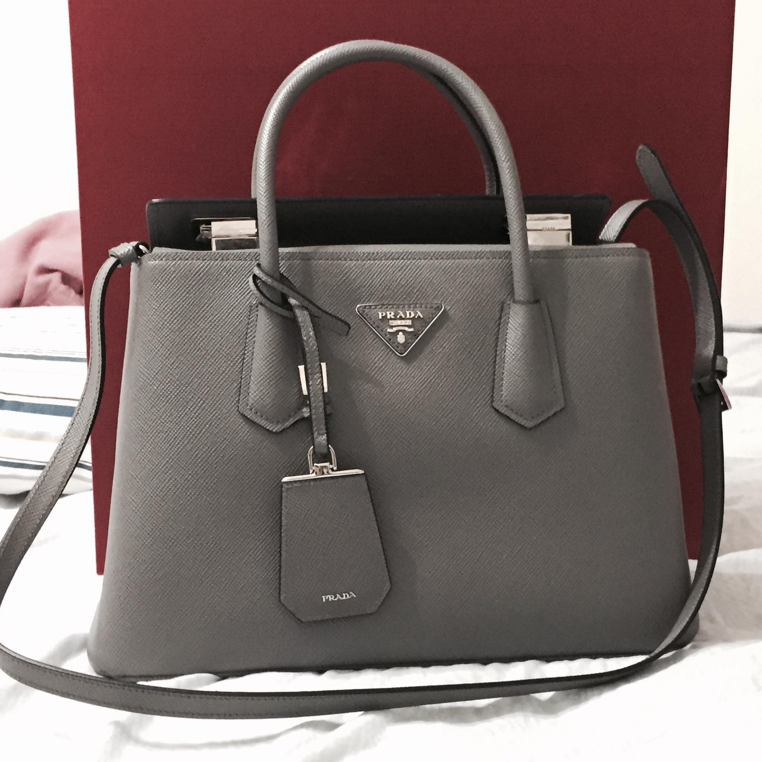 d98eec1c70e8 ... netherlands prada saffiano cuir tote grey. marble leather cross body bag  23093 f5d35