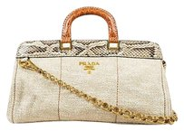 Prada Beige Burlap Python Satchel in Beige,Cream,Gold,Gray,Metallic,Gold-tone hardware, Light Brown