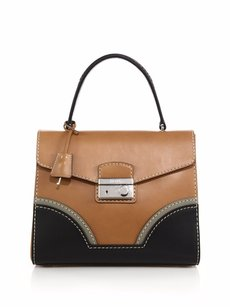 Prada Ss15 Tan Black Satchel in Brown