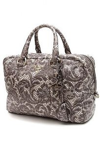 Prada Lace Print Leather Cervo Lux Bowler Satchel in Gray, ivory