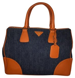 Prada Satchel in Orange + Blue Papaya + Denim