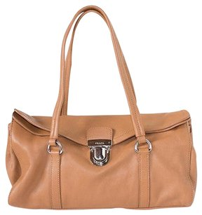 Prada Camel Vitello Leather Easy Satchel Classic Shoulder Bag