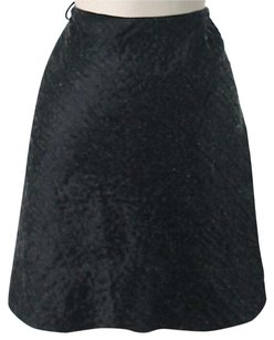Prada Silk-blend Textured Wool Linen Skirt Black