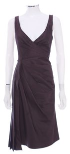 Prada Silk Wool V-neck Sleeveless Pleated Dress