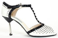 Prada Vitello Shine Studs Peep Heels Black / White Pumps