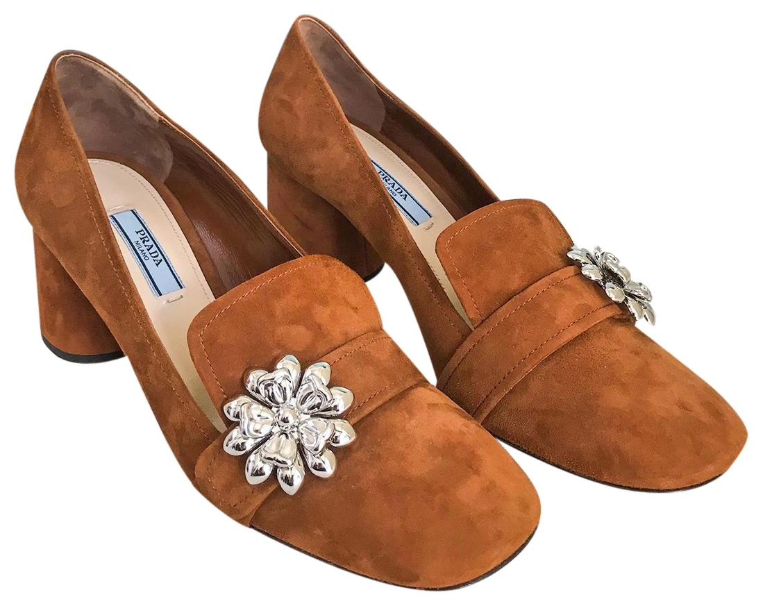 ae5c635ea30 ... cheapest prada suede flower heel loafers brown pumps 8299d 1ccd9