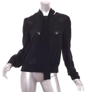 Prada Womens Silk Chiffon Shirt 4610 Top Black