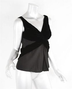 Prada Womens Sleeveless Deep Pleated Flowy Knot Shirt Top Black