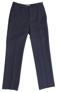 Prada Trousers Long Wool Seams Belt Loops Straight Pants Black